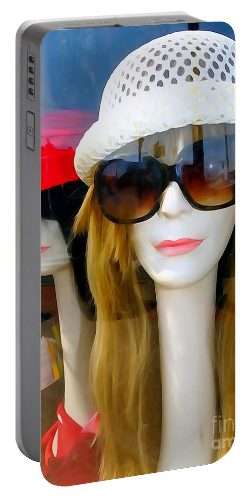 Mannequins Portable Battery Charger featuring the photograph Long Necked Lovelies by Ed Weidman