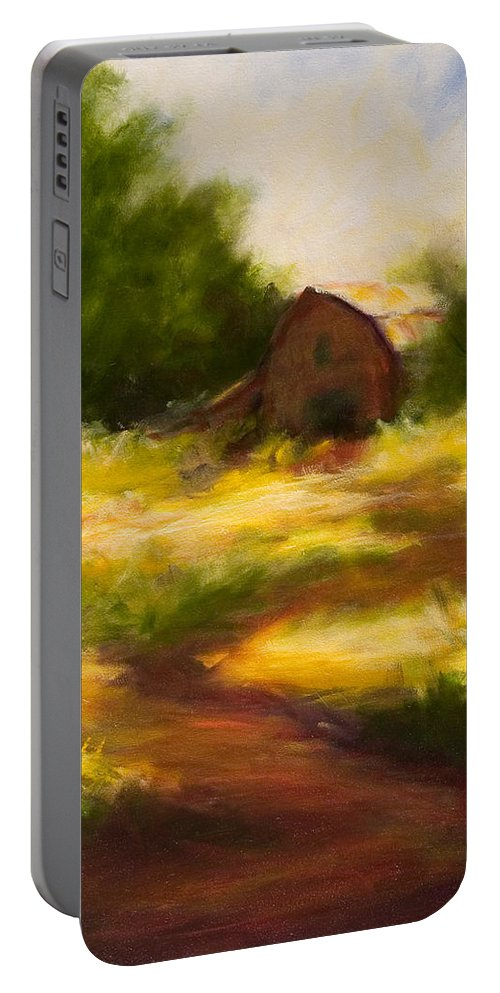 Landscape Portable Battery Charger featuring the painting Long Road Home by Shannon Grissom