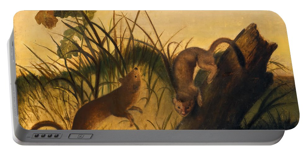 Painting Portable Battery Charger featuring the painting Long - Tailed Weasel by Mountain Dreams