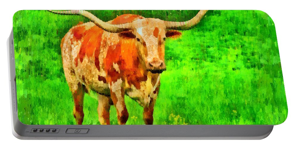 Long-horn Portable Battery Charger featuring the digital art Longhorn 2 - Da by Leonardo Digenio