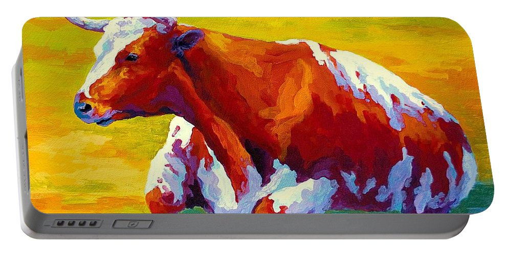 Western Portable Battery Charger featuring the painting Longhorn Cow by Marion Rose