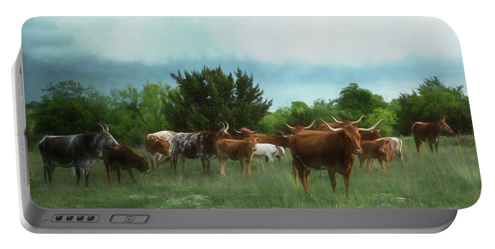 Longhorns Portable Battery Charger featuring the photograph Longhorn Herd by Pamela Steege