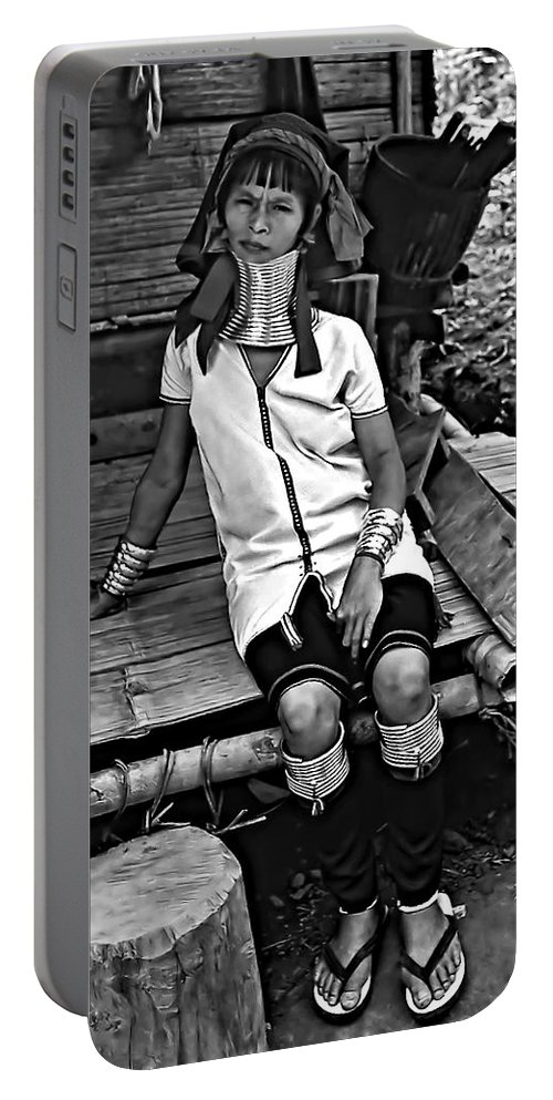 Jungle Portable Battery Charger featuring the photograph Longneck Beauty Bw by Steve Harrington