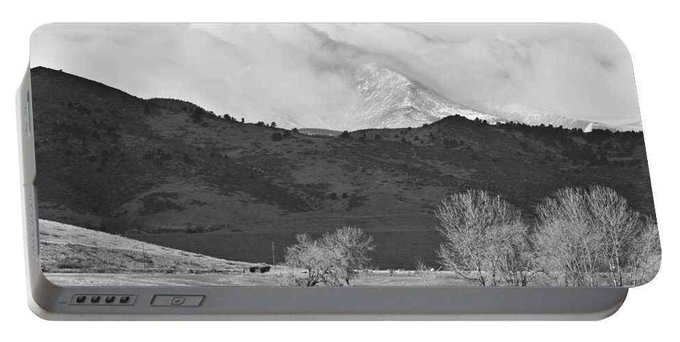 Colorado Portable Battery Charger featuring the photograph Longs Peak Snow Storm Bw by James BO Insogna