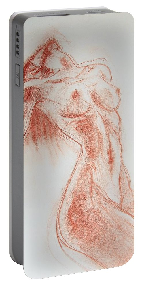 Beautiful Portable Battery Charger featuring the drawing Look At Me Now by Jarmo Korhonen aka Jarko