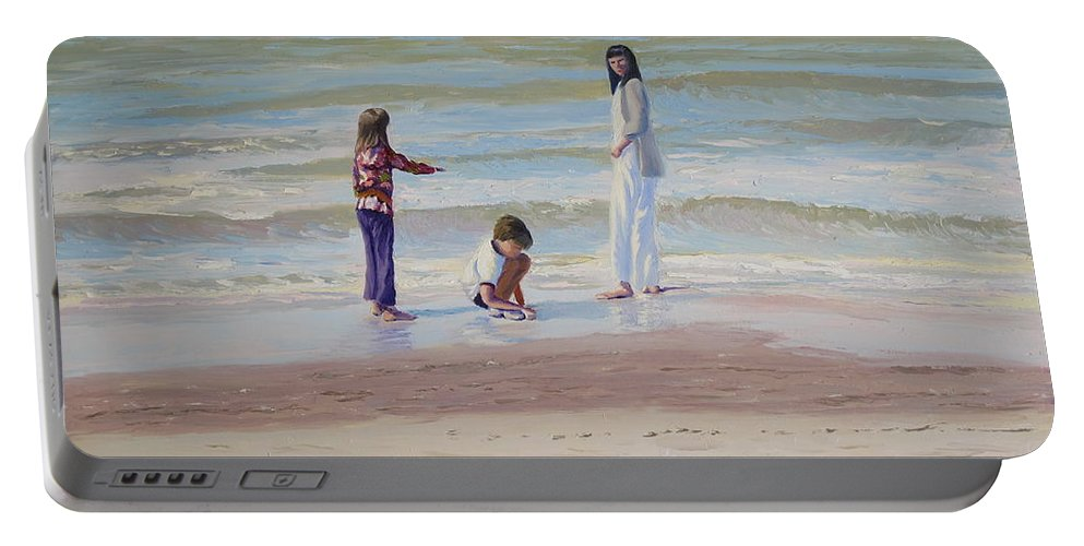 Beach Portable Battery Charger featuring the painting Look What I Found by Lea Novak