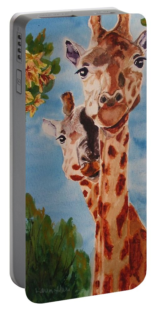 Giraffes Portable Battery Charger featuring the painting Lookin Back by Karen Ilari