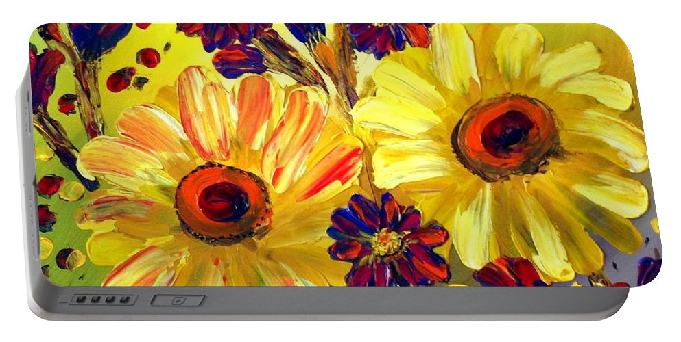 Flowers Portable Battery Charger featuring the painting Looking At Sun by Luiza Vizoli