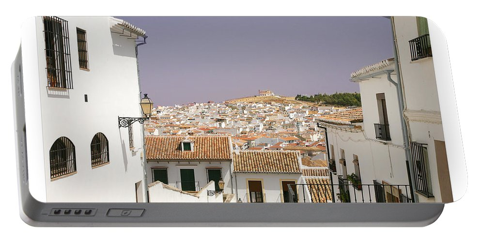 Antequera Portable Battery Charger featuring the photograph Looking Down Over Antequera From Near The Church Of Santa Maria La Mayor by Mal Bray