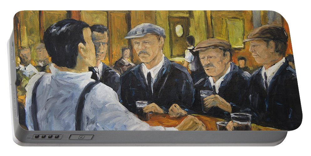Artist Painter Portable Battery Charger featuring the painting Looking In The Pub by Richard T Pranke