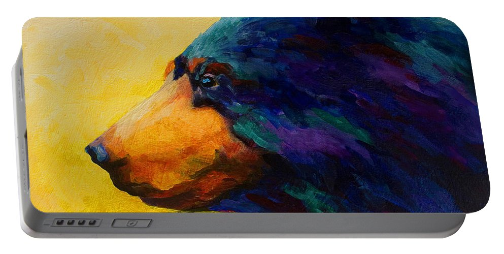 Bear Portable Battery Charger featuring the painting Looking On II - Black Bear by Marion Rose
