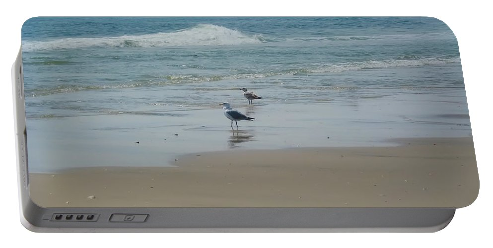 Beach Portable Battery Charger featuring the photograph Looking Out Into The Sea by Bill Cannon