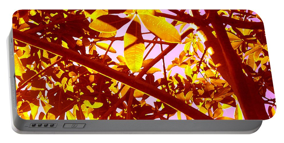 Garden Portable Battery Charger featuring the painting Looking Through Tree Leaves 2 by Amy Vangsgard