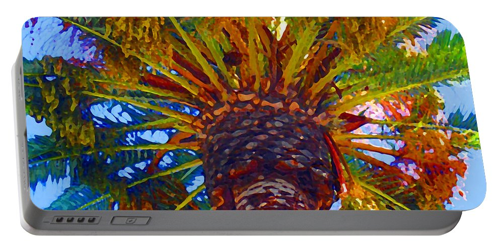 Garden Portable Battery Charger featuring the painting Looking Up At Palm Tree by Amy Vangsgard