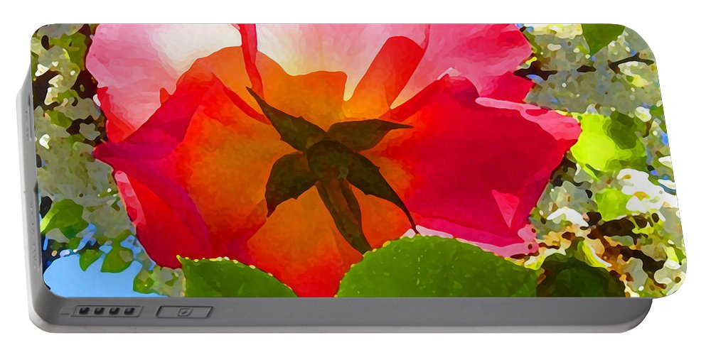 Roses Portable Battery Charger featuring the photograph Looking Up At Rose And Tree by Amy Vangsgard