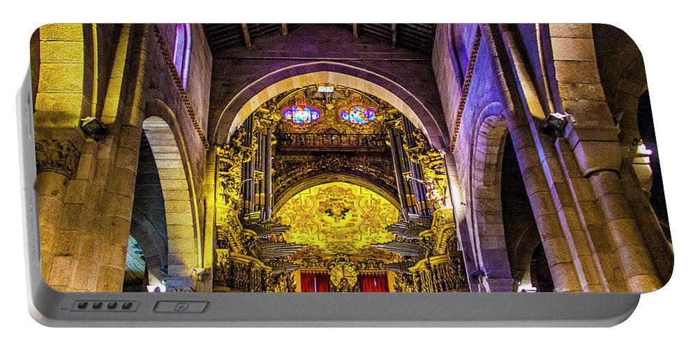 Braga Portable Battery Charger featuring the photograph Looking Up In Brag Cathedral by Roberta Bragan