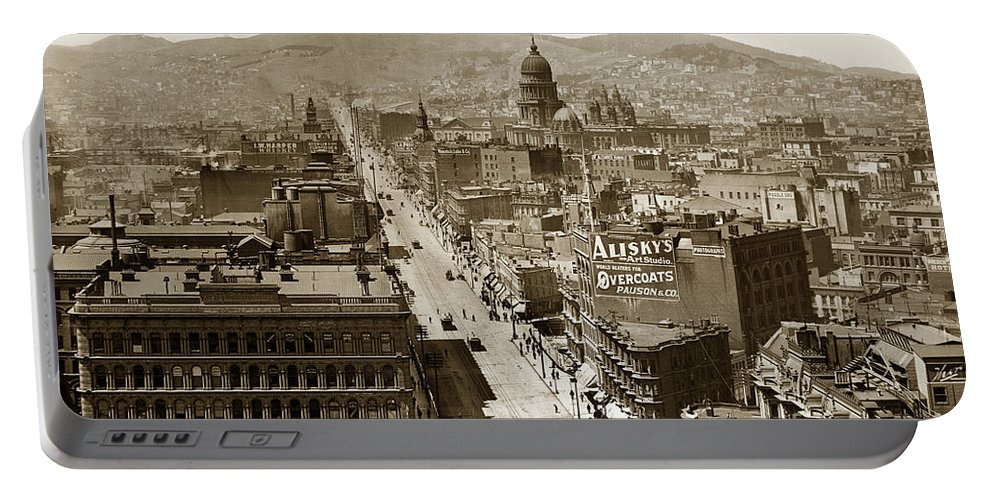 San Francisco Portable Battery Charger featuring the photograph Looking Up Market Street From The Call Building With City Hall Circa 1900 by California Views Archives Mr Pat Hathaway Archives