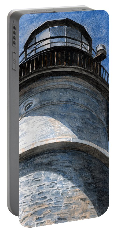 Lighthouse Portable Battery Charger featuring the painting Looking Up Portland Head Light by Dominic White