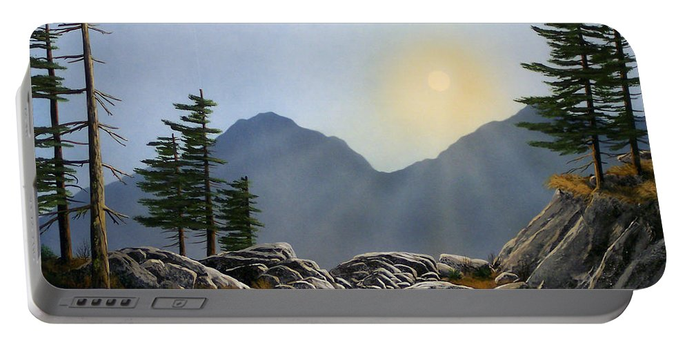 Landscape Portable Battery Charger featuring the painting Lookout Rock by Frank Wilson