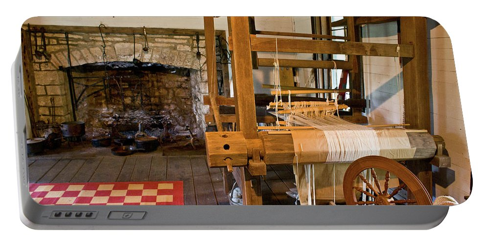 Loom Portable Battery Charger featuring the photograph Loom And Fireplace In Settlers Cabin by Douglas Barnett