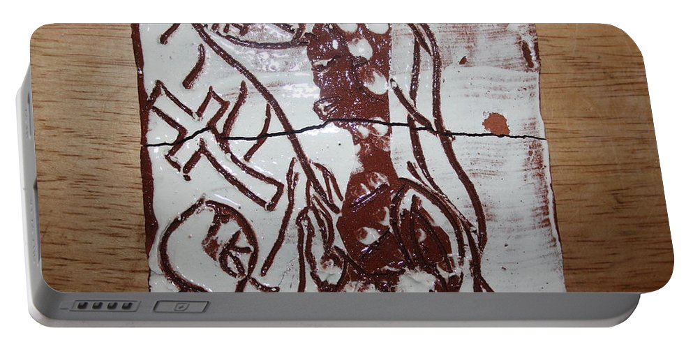 Mamamama Africa Twojesus Portable Battery Charger featuring the ceramic art Lord Bless Me 12 - Tile by Gloria Ssali