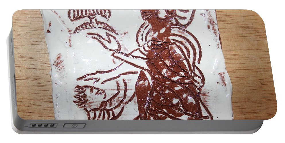 Mamamama Africa Twojesus Portable Battery Charger featuring the ceramic art Lord Bless Me 13 - Tile by Gloria Ssali