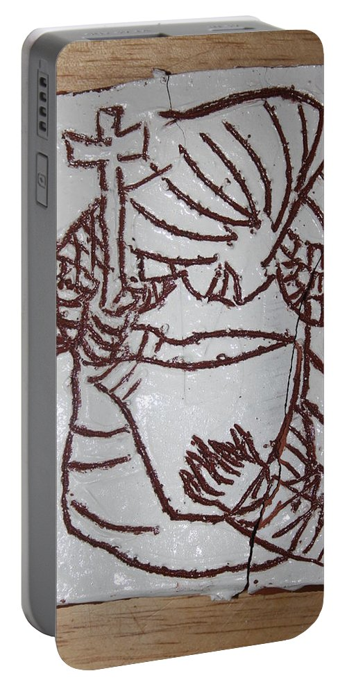 Plaquesmamamama Africa Twojesus Portable Battery Charger featuring the ceramic art Lord Bless Me 24 by Gloria Ssali