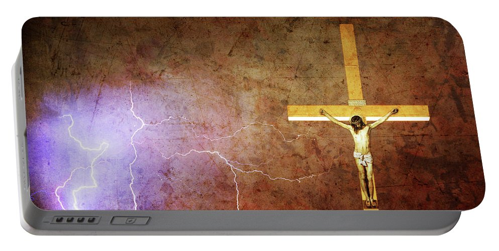 Lightning Portable Battery Charger featuring the photograph Lord Have Mercy - Crucifixion Of Jesus -2011 by James BO Insogna