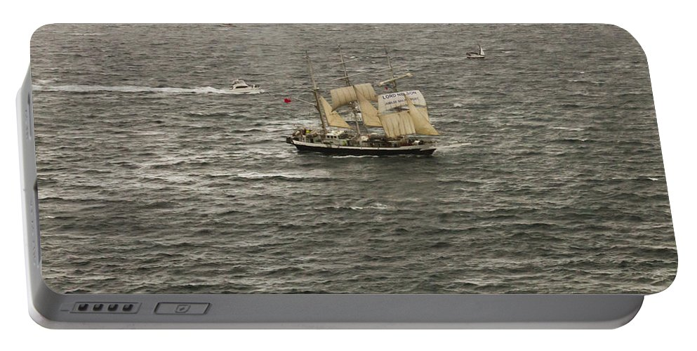 Lord Nelson Portable Battery Charger featuring the photograph Lord Nelson Enters Sydney Harbour by Miroslava Jurcik