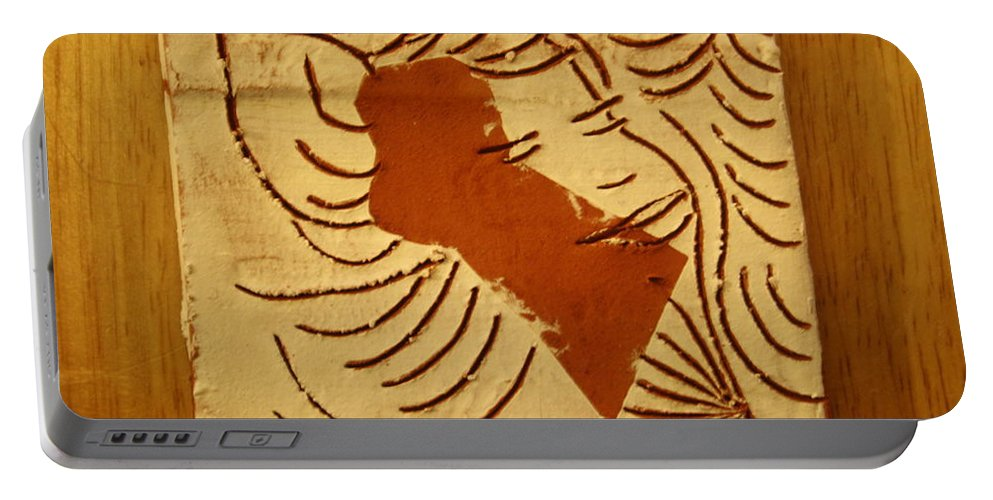 Jesus Portable Battery Charger featuring the ceramic art Lornah- Tile by Gloria Ssali