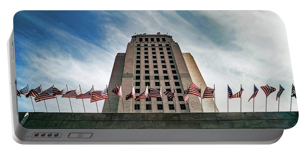 Los Angeles Portable Battery Charger featuring the photograph Los Angeles City Hall by Austin Lee