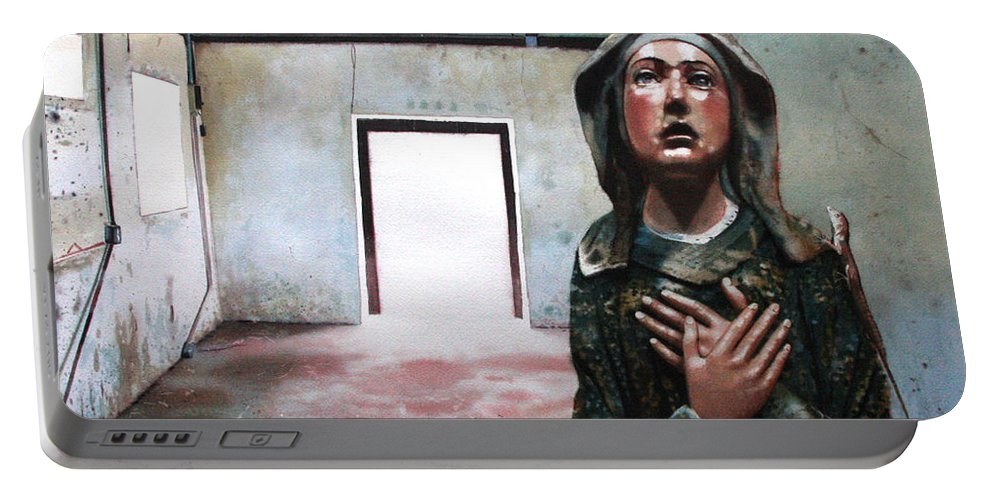 Icon Portable Battery Charger featuring the painting Losing My Religion by Denny Bond