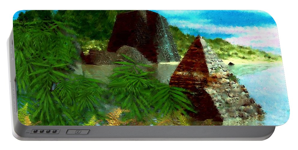 Digital Fantasy Painting Portable Battery Charger featuring the digital art Lost City by David Lane