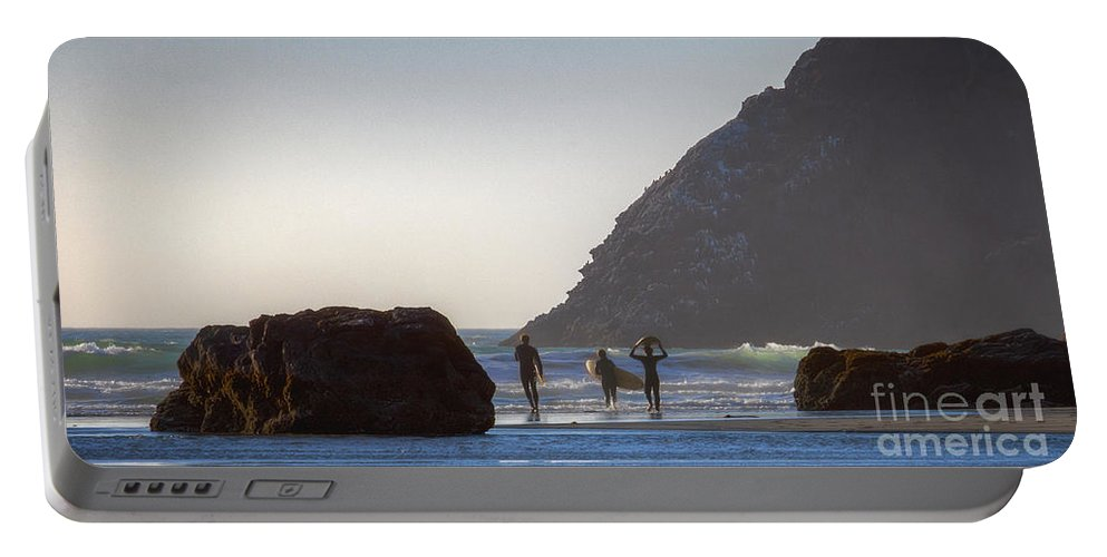 Lost Coast Surfers Portable Battery Charger featuring the photograph Lost Coast Surfers by Mitch Shindelbower