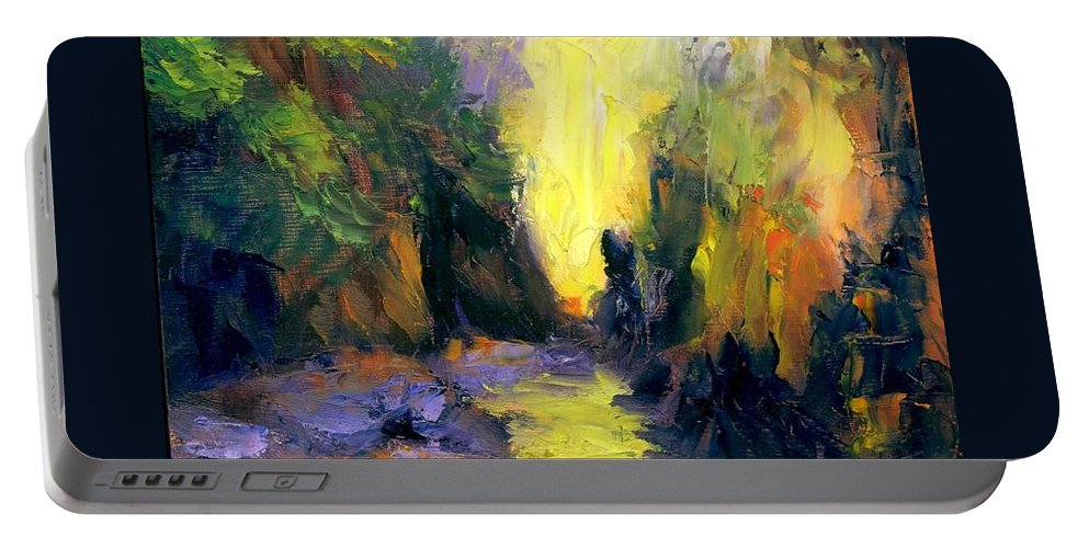 Landscape Portable Battery Charger featuring the painting Lost Creek by Gail Kirtz