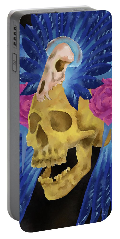Skull Portable Battery Charger featuring the painting Lost Culture by William Depaula