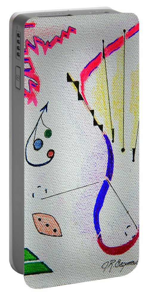 Abstract Portable Battery Charger featuring the mixed media Lost Directions by J R Seymour