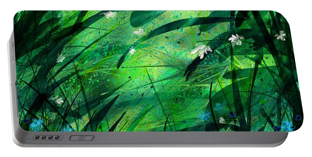 Abstract Portable Battery Charger featuring the digital art Lost In Paradise by Rachel Christine Nowicki