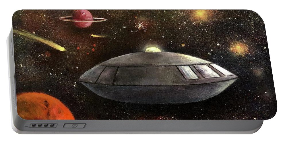 Space Portable Battery Charger featuring the painting Lost In Space by Randy Burns