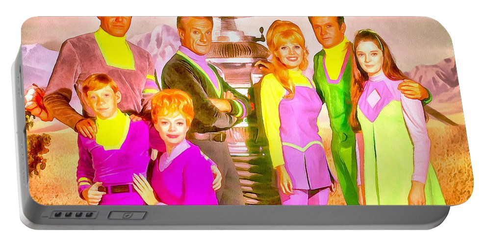 Lost In Space Portable Battery Charger featuring the painting Lost In Space Team - Pa by Leonardo Digenio