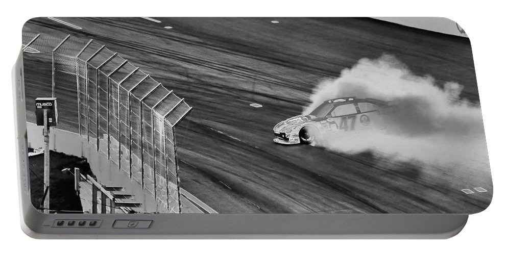 Racing Portable Battery Charger featuring the photograph Lost It On The Turn Blkwht by Karol Livote
