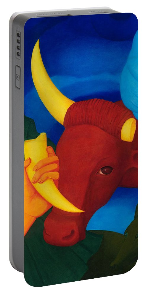 Surreal Portable Battery Charger featuring the painting Lost Power. by Andrzej Pietal