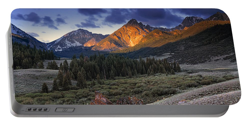 Idaho Scenics Portable Battery Charger featuring the photograph Lost River Mountains Moon by Leland D Howard