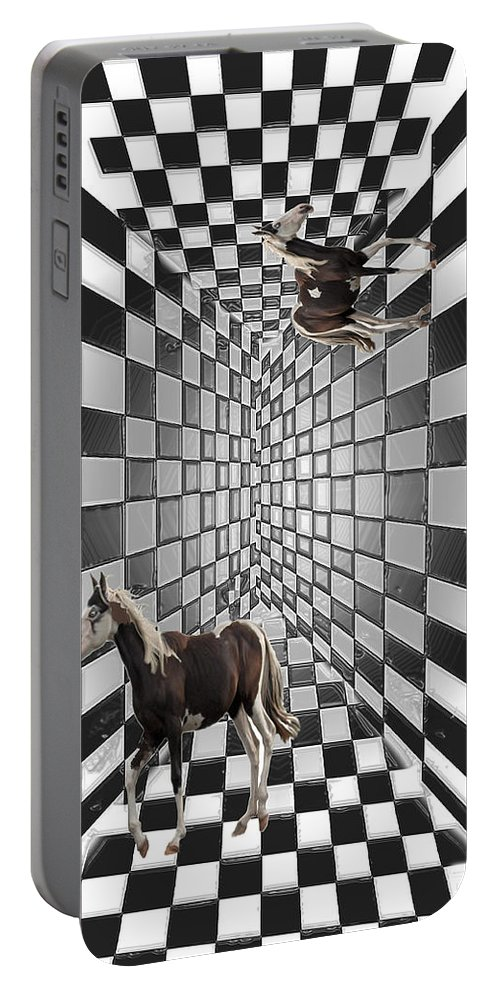 Horse Horses Lost Soul Maze Animal Black And White Paint Digital Artist Regina Sk Portable Battery Charger featuring the digital art Lost Souls by Andrea Lawrence