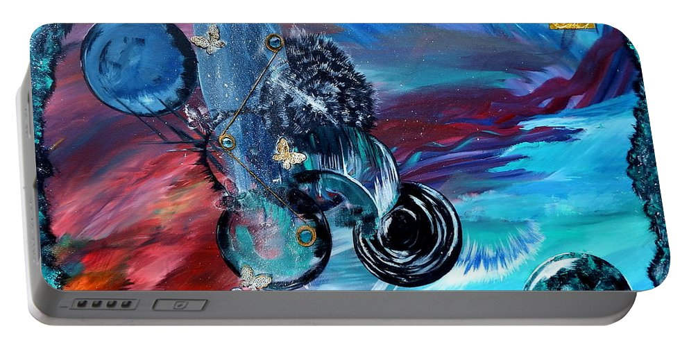 Surreal Portable Battery Charger featuring the painting Lost World by Nicole Champion