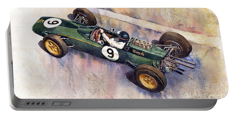 Watercolour Portable Battery Charger featuring the painting Lotus 25 F1 Jim Clark Monaco Gp 1963 by Yuriy Shevchuk