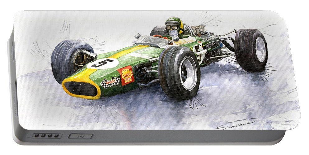 Watercolour Portable Battery Charger featuring the painting Lotus 49 Ford F1 Jim Clark by Yuriy Shevchuk