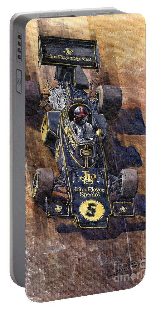 Watercolour Portable Battery Charger featuring the painting Lotus 72 Canadian Gp 1972 Emerson Fittipaldi by Yuriy Shevchuk