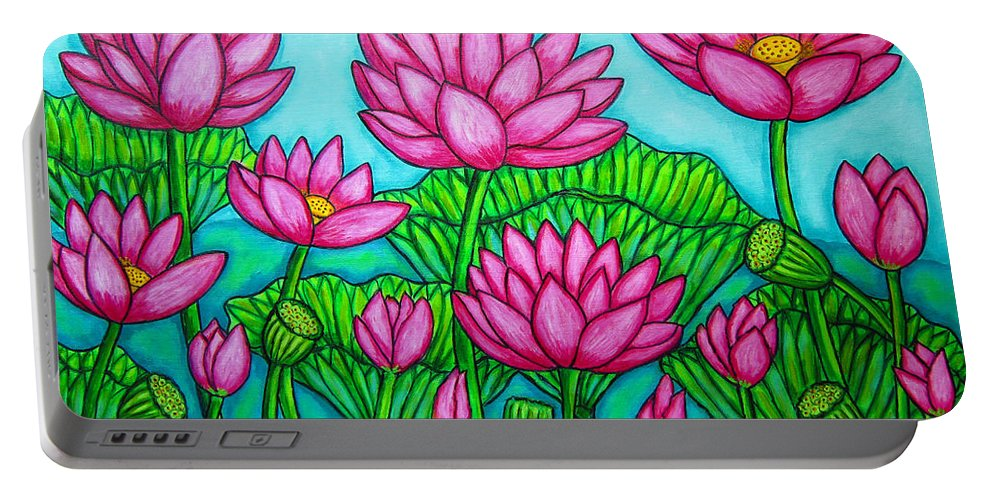 Lotus Portable Battery Charger featuring the painting Lotus Bliss II by Lisa Lorenz