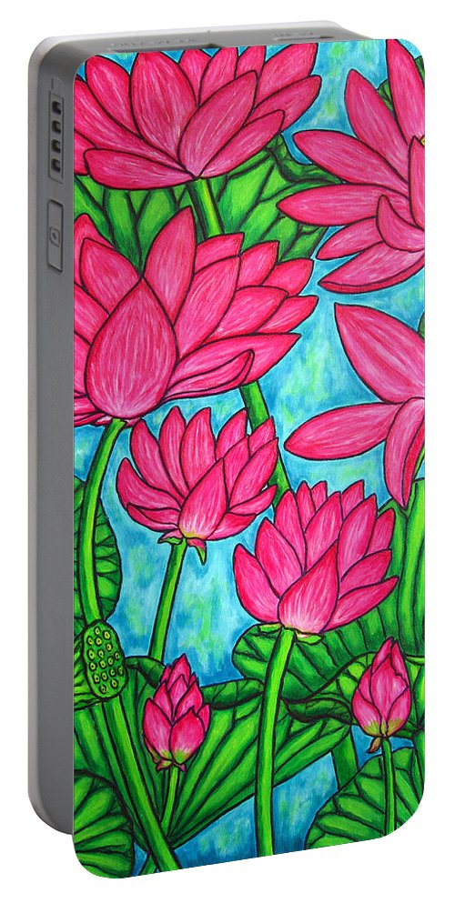 Portable Battery Charger featuring the painting Lotus Bliss by Lisa Lorenz